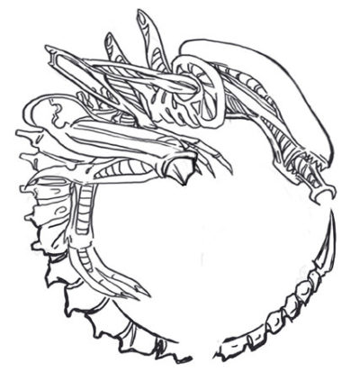 The Alien xenomorph tattoo lineart prepared for the tatto artist and measured to fit over the first tattoo