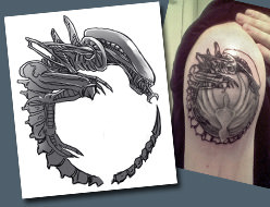 The finished Alien xenomorph tattoo design on Callum's arm and fitted over the Battlestar Galactica tattoo perfectly!