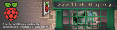 Raspberry pi web site header banner design illustration for www.thepishop.org