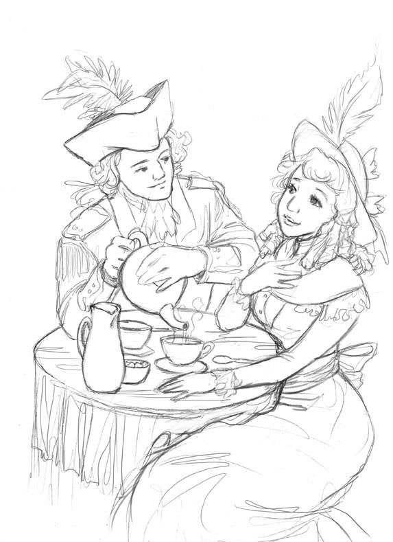 Pencil stage of the gent and lady caricatures for the tea packaging illustration