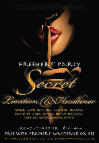Poster to advertise a Freshers' party event in 2009