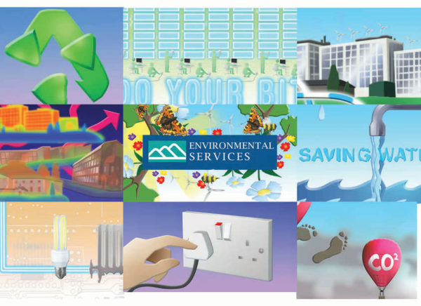 Stills from the finished environmental services animation by Mair Perkins