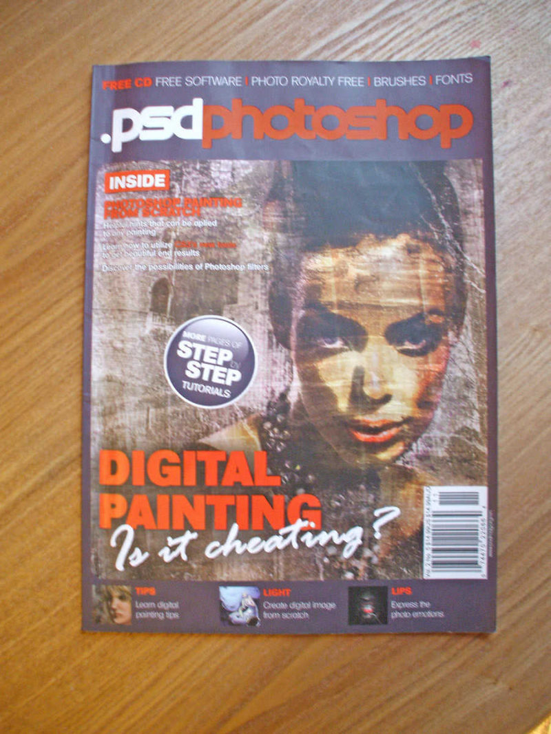 The cover of the Photoshop magazine that the tutorial was featured in