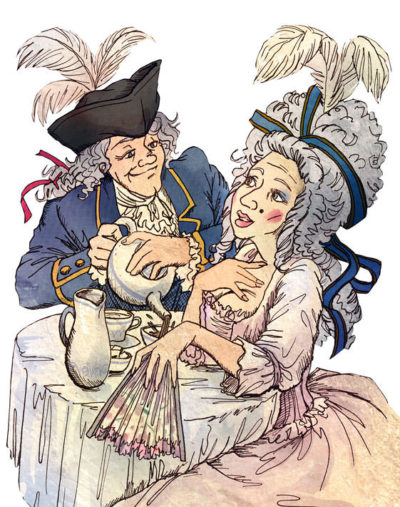 Gent and lady caricatures for the tea packaging illustration