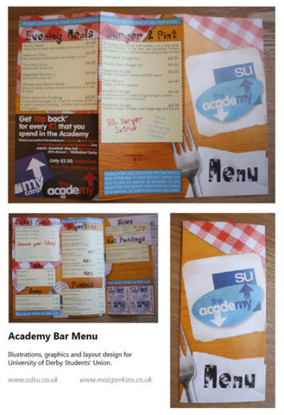 Menu design for the Students' Union Bar