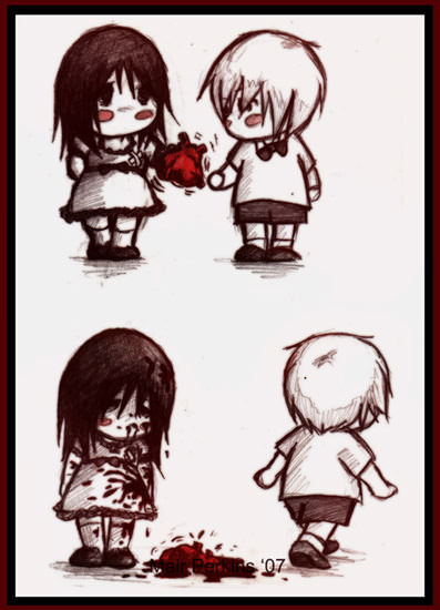 Isn't heart break cute? - A dark humoured illustration in chibi anime style