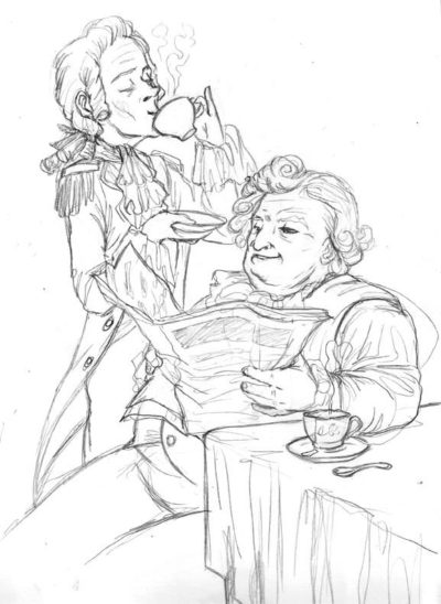 Pencil stage of the plump gent and dandy caricatures for the tea packaging illustration