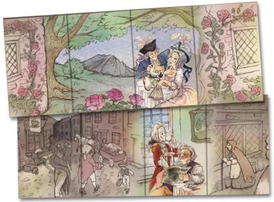 Tea packaging illustrations inspired by Thomas Rowlandson