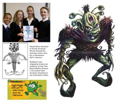 Mair Perkins' illustration for the GOSH Monster book fundraiser for Great Ormond Street Hospital