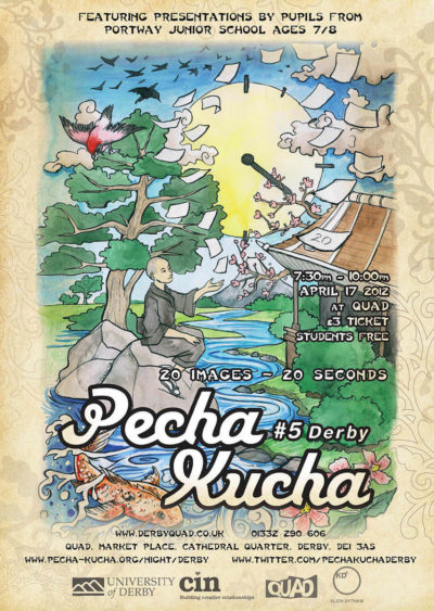 Pecha Kucha Derby 5 - Poster Illustration by Mair Perkins