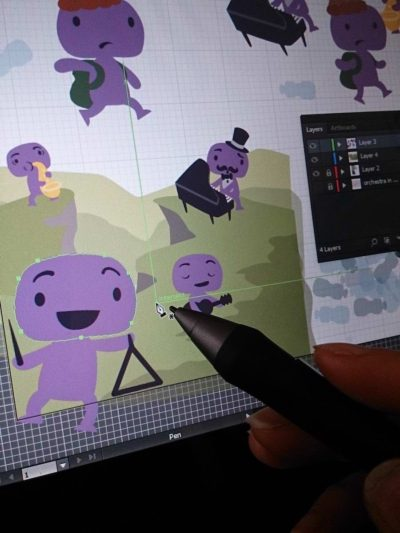Creating character designs and concept art in Adobe Illustrator with a Wacom Cintiq.