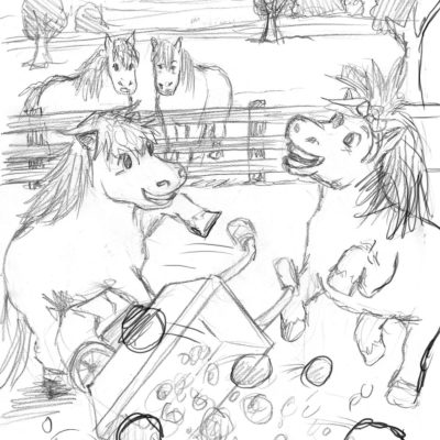 Pencil sketches for Happy Ponies children's book