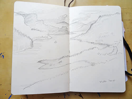 Travel journal sketch from the Columbia River Gorge