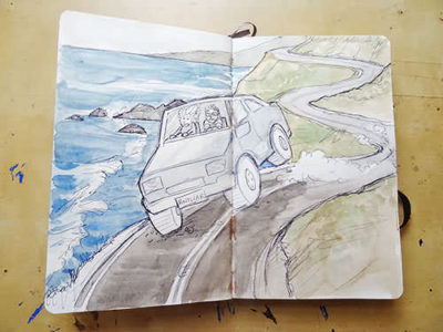 driving highway 1 travel art journal