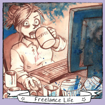 Day 9 - 'Overdosing on caffeine to meet a deadline'. When there's several clients' project deadlines close together, caffeine is a freelancer's best friend.