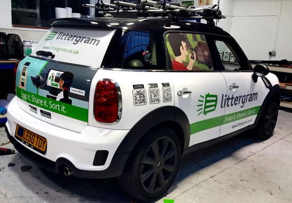 Littergram commercial car
