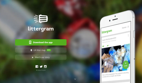 Littergram animated video on website screenshot