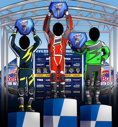 Podium cut outs for the motor bike racing sports event.