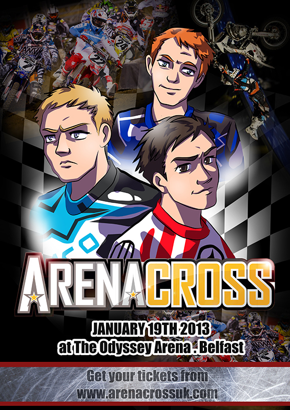 Anime style poster illustration advertising the motor bike racing event. Featuring some of the sports stars.