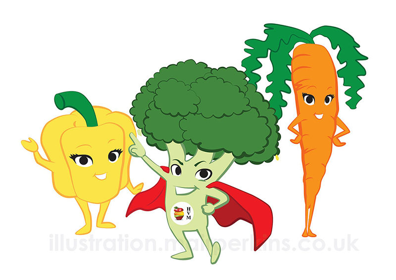 The pepper, broccoli and carrot characters. Drawn in Adobe Illustrator and supplied as vectors so the client can scale them to any size without image loss.