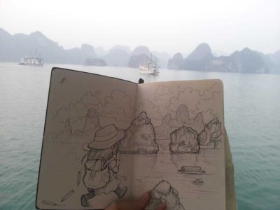 Comparing my imagined sketch of Ha Long Bay with the real thing.