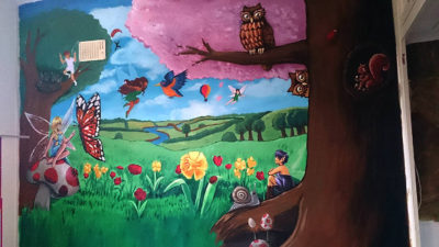 painting childrens woodland fairy mural