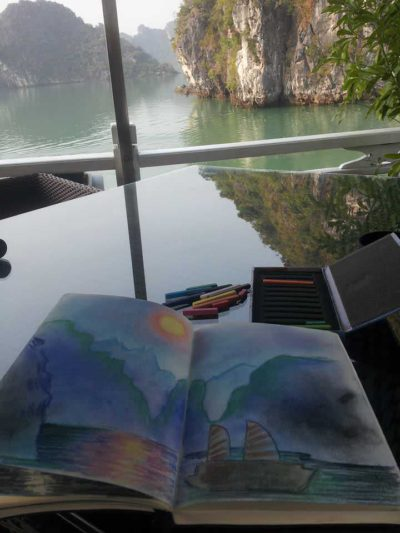 Pastel sketch in Ha Long Bay, Vietnam