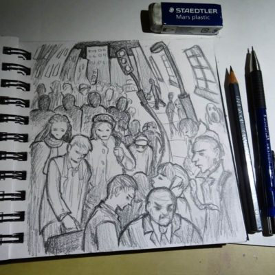 Drawn on the train home after a long day walking around London. I do love all the culture and attractions in London but find the crowds unsettling. I guess I'm just a country bumpkin at heart!