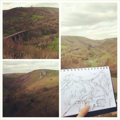 I was in Bakewell for a business meeting and afterwards I stopped by Monsal Head (Derbyshire, England) for lunch and some sketching. My drawing pales in comparison to the epic landscape but it was a happy and calming thing to do.