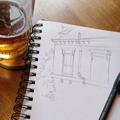 Sketching the Victorian houses from the Five Lamps Pub, Derby, England.