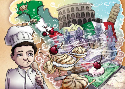 Chidrens' book illustration about chef Noah