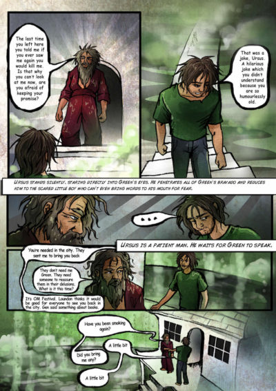 Sample page of the graphic novel Semper Viridis by Nick Berry.