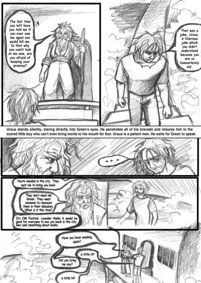 Pencil draft of a sample page of the graphic novel Semper Viridis by Nick Berry.