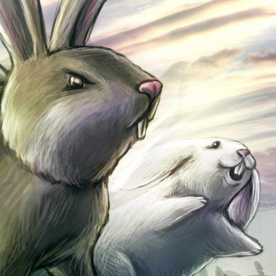 Close up of detail in digital painting illustration easter rabbit commission.
