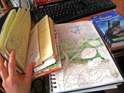 Travel journal and sketchbook from Ecuador.