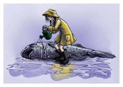 A girl in a raincoat and wellies watering a dying fish