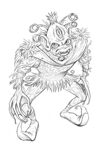 Mair Perkins' interpretation of the Rothbart monster drawing in pencil.