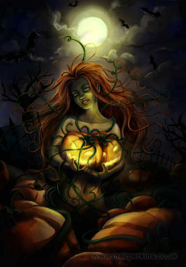 Halloween illustration - an eerie woman amongst a pumpkin patch. Watercolour painting and Photoshop
