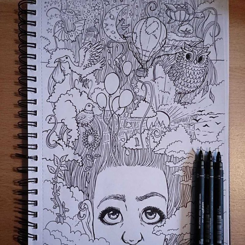 The inked artwork which I submitted to Doodler's Anonymous colouring book volume 4 in 2014.