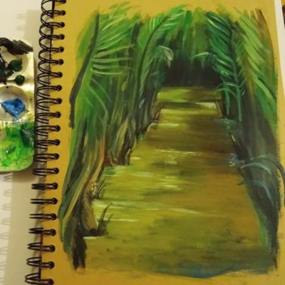 Acrylic painting of the Mekong Delta, Vietnam.