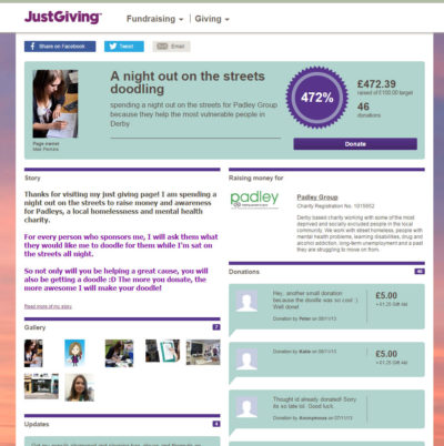 The Justgiving fundraising page