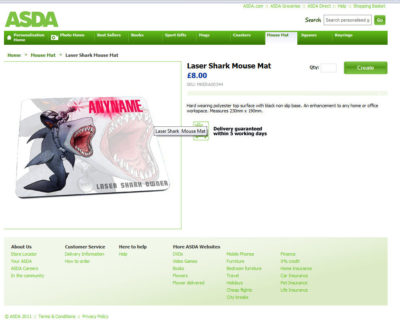 Personalised card gift designs and illustrations on the ASDA online store
