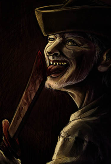 Scurvy swine of a pirate - a gnarled and thretening pirate licks hisdagger blade - digital painting