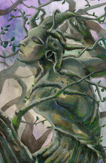 The figure of a man made up from the tree trunk and branches - Gouache painting