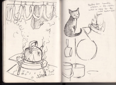 Sketches from a local family's home in Sapa, Vietnam