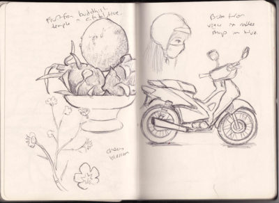Sketches from a cafe in Hue, Vietnam.