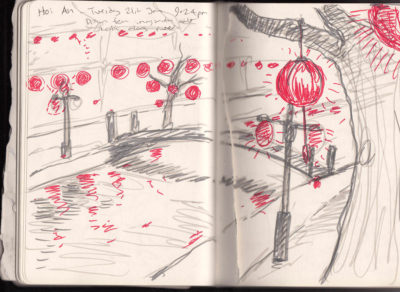 Sketch of the lanterns and river at night in Hoi An, Vietnam..
