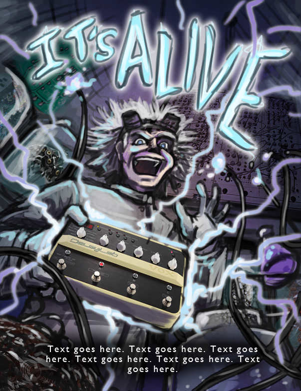 Concept 2 - Illustration for magazine advert - VOX Delay Lab Whammy Pedal