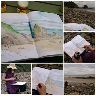 2014 trip to Tenby, Wales - Watercolour painting of the coast between Saundersfoot and Tenby.