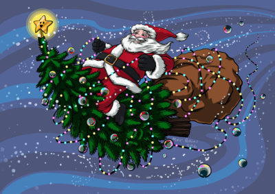 Merry Christmas santa riding a Christmas tree illustration